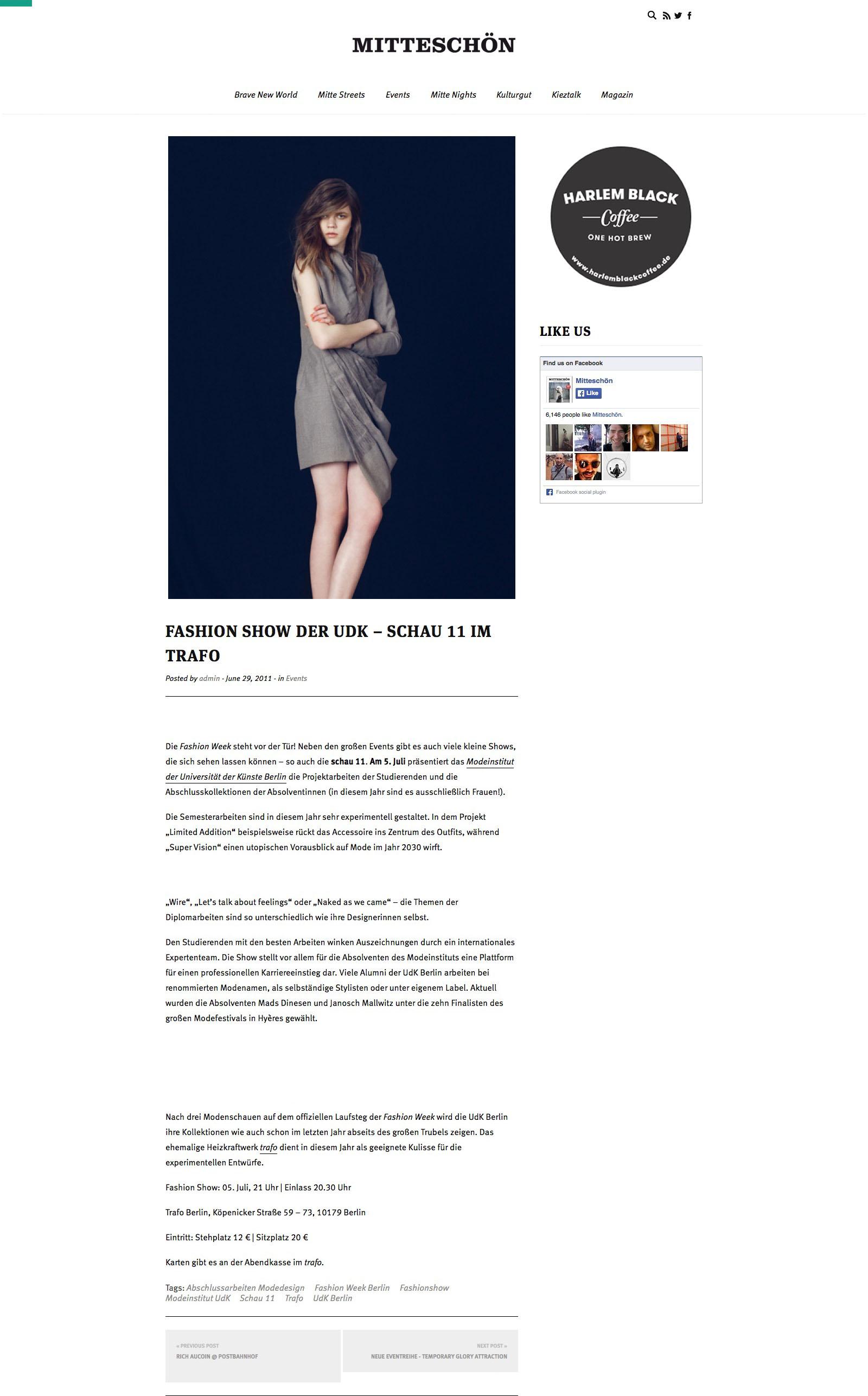 Fashion Show der UdK – schau 11 im trafo | Mitteschoen