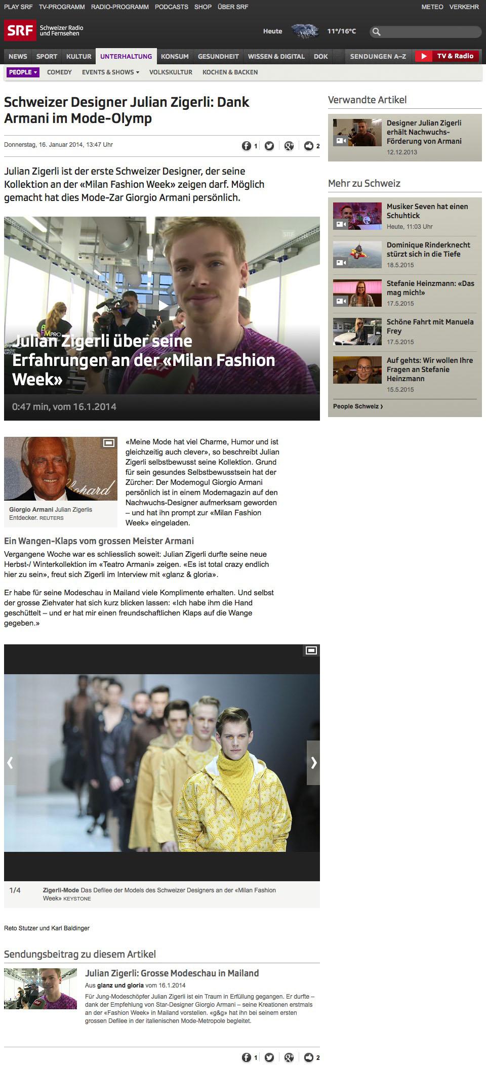 Schweizer Designer Julian Zigerli: Dank Armani im Mode-Olymp - Unterhaltung - Schweizer Radio und Fernsehen